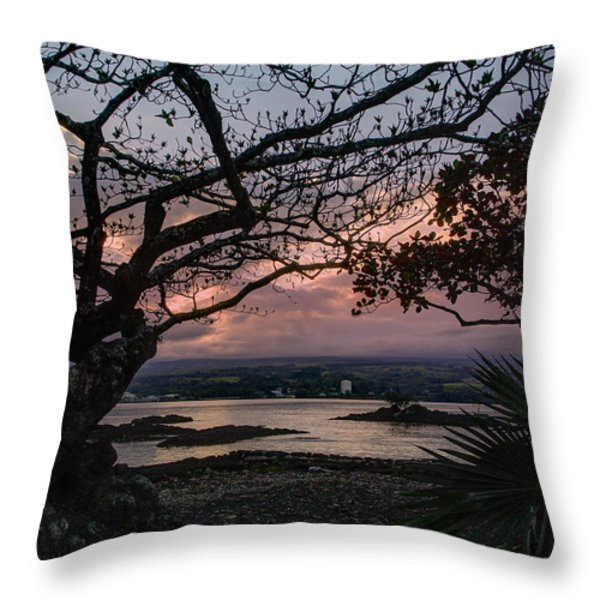 Volcanic Sunset On Hilo Bay - Big Island Throw Pillow by Daniel Hagerman