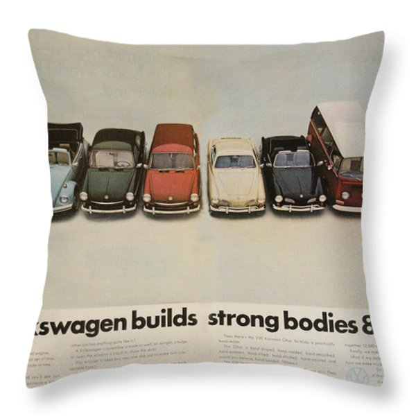 Volkswagen Body Facts Throw Pillow by Nomad Art And  Design