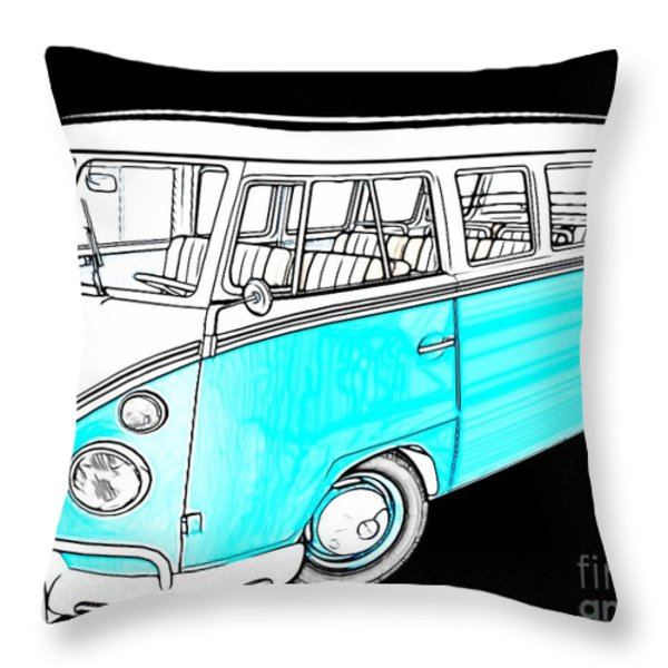 Volkswagen Turquoise Throw Pillow by Cheryl Young