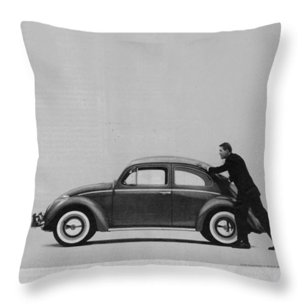 Vw Beetle Advert 1962 - And If You Run Out Of Gas It's Easy To Push Throw Pillow by Nomad Art And  Design