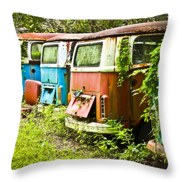 Vw Buses Throw Pillow by Carolyn Marshall