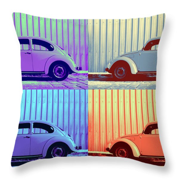 Vw Pop Winter Throw Pillow by Laura  Fasulo
