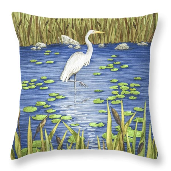 Wading And Watching Throw Pillow by Katherine Young-Beck
