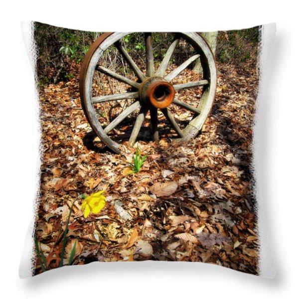Wagon Wheel Daffodil Throw Pillow by Brian Wallace