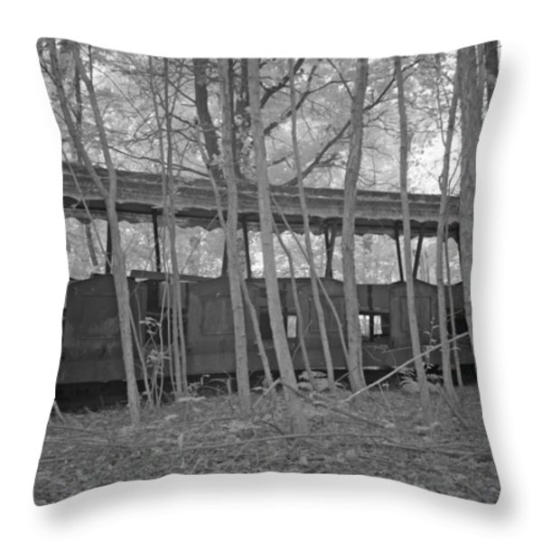 Wagons in the forest in infrared light in Netherlands Throw Pillow by Ronald Jansen