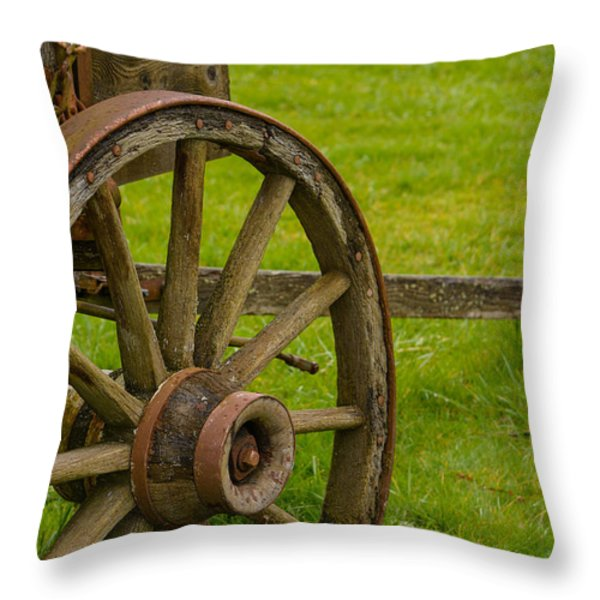 Wagons West Throw Pillow by Roger Reeves  and Terrie Heslop