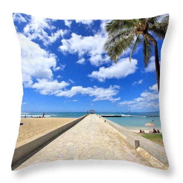 Waikiki Wall Throw Pillow by DJ Florek