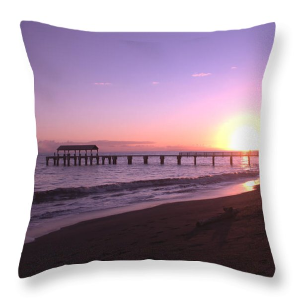 Waimea Pier Sunset Throw Pillow by Brian Harig