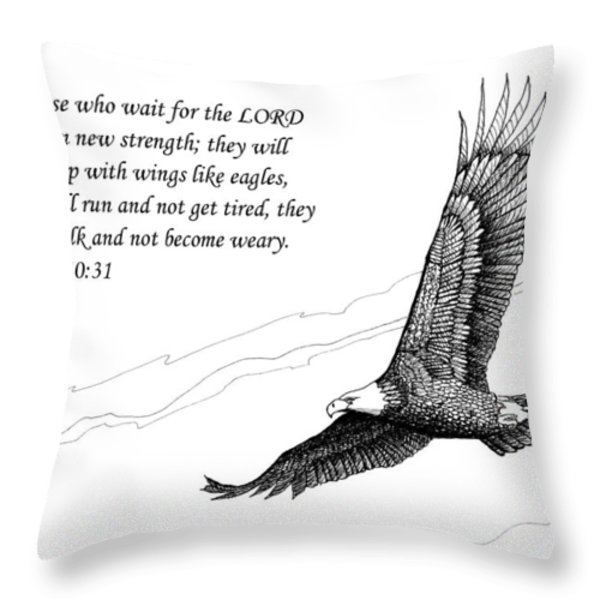 Wait for the Lord Throw Pillow by Janet King