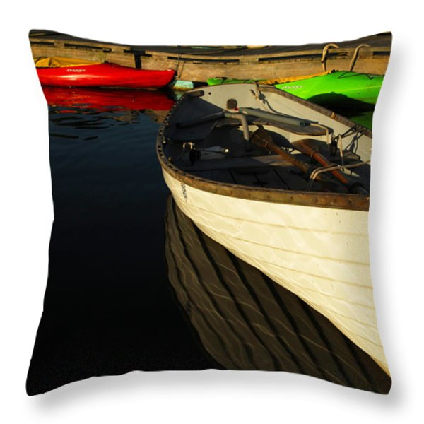Waiting At The Dock Throw Pillow by Karol  Livote