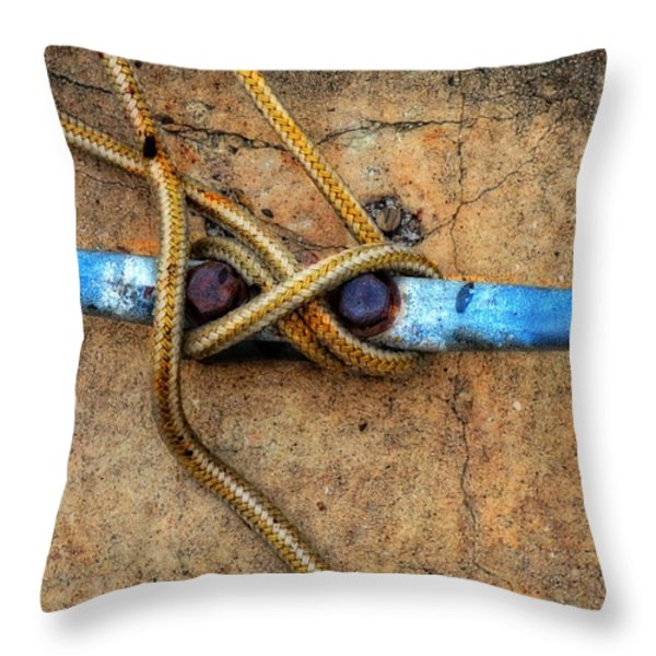 Waiting - Boat Tie Cleat By Sharon Cummings Throw Pillow by Sharon Cummings