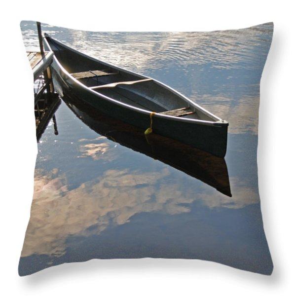 Waiting Canoe Throw Pillow by Renee Forth-Fukumoto