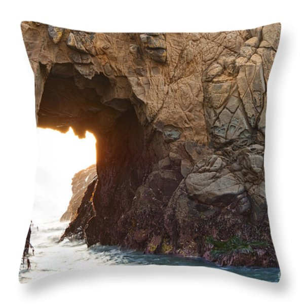 Waiting For Godot - Arch Rock In Pfeiffer Beach In Big Sur. Throw Pillow by Jamie Pham