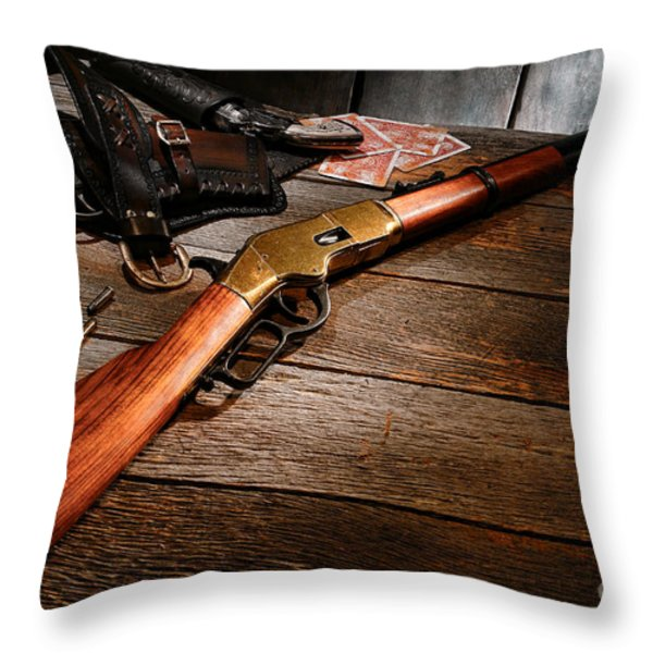 Waiting For The Gunfight Throw Pillow by Olivier Le Queinec