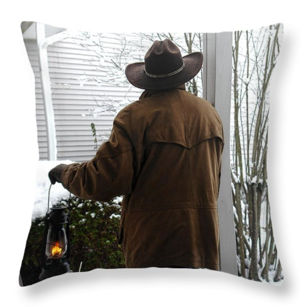 Waiting For The Storm Throw Pillow by Olivier Le Queinec