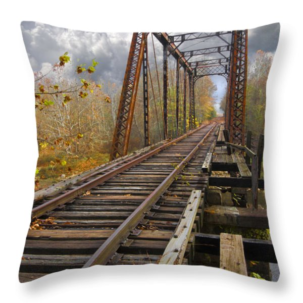 Waiting For The Train Throw Pillow by Debra and Dave Vanderlaan