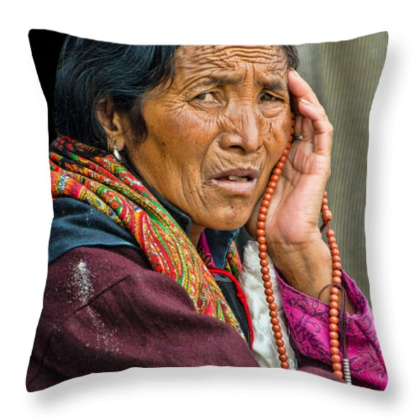 Waiting In Dharamsala For The Dalai Lama Throw Pillow by Don Schwartz
