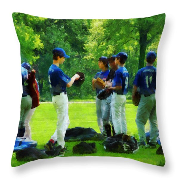Waiting to Go to Bat Throw Pillow by Susan Savad