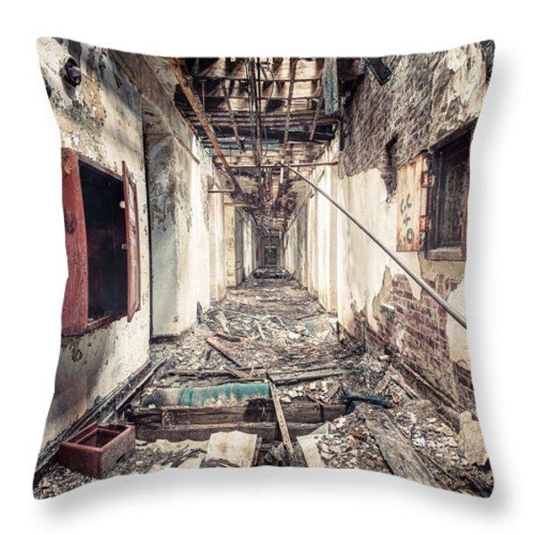 Walk of Death - Abandoned Asylum Throw Pillow by Gary Heller