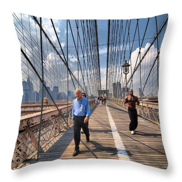 Walkers and Joggers on the Brooklyn Bridge Throw Pillow by Amy Cicconi