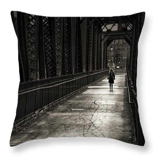 Walking In The Rain Throw Pillow by Bob Orsillo