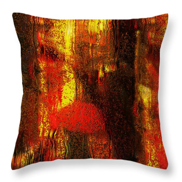 Walking In The Rain Throw Pillow by Jack Zulli