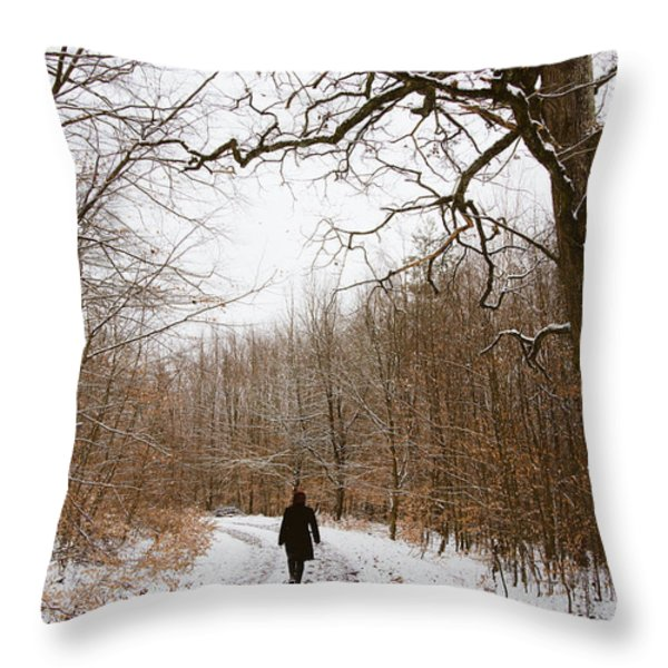 Walking in the winterly woodland Throw Pillow by Matthias Hauser