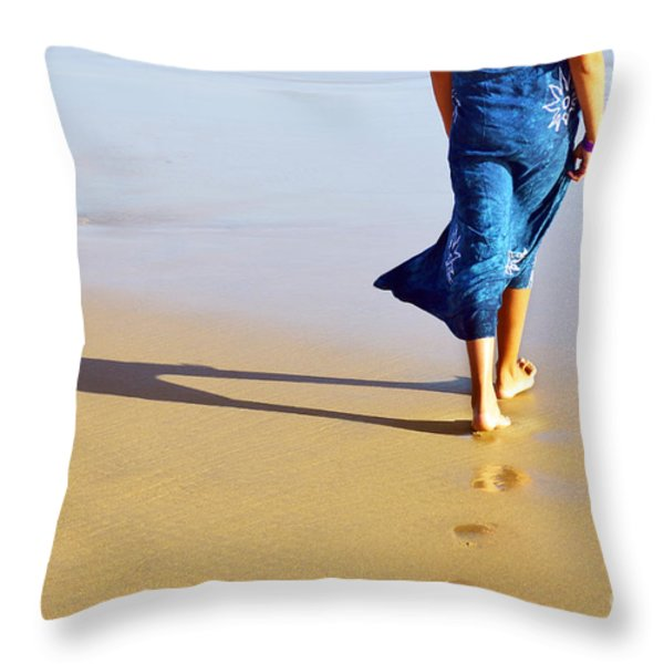Walking On The Beach Throw Pillow by Carlos Caetano