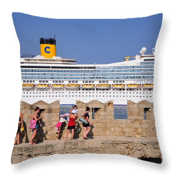 Walking On The Fortification Of The Medieval City Of Rhodes Throw Pillow by George Atsametakis