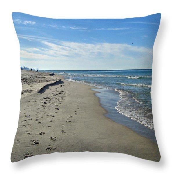 Walking the Beach Throw Pillow by Sandy Keeton