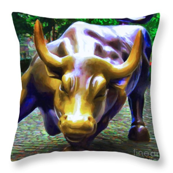 Wall Street Bull v2 - square Throw Pillow by Wingsdomain Art and Photography