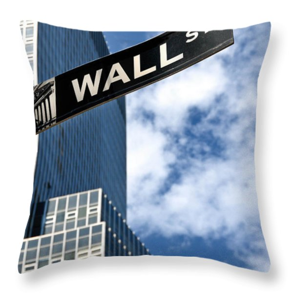 Wall Street Street Sign New York City Throw Pillow by Amy Cicconi