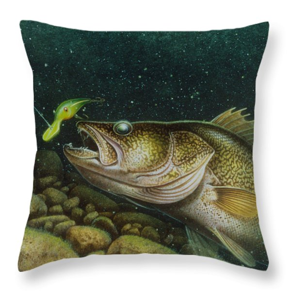 Walleye And Crank Bait Throw Pillow by Jon Q Wright