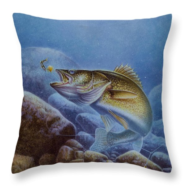 Walleye And Lindy Throw Pillow by Jon Q Wright