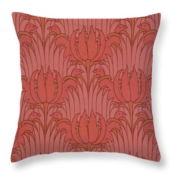 Wallpaper Design Throw Pillow by Victorian Voysey