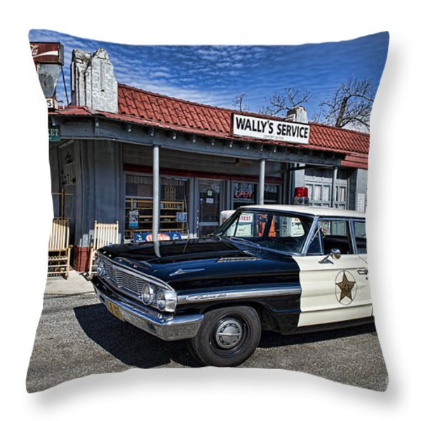 Wallys Service Station Throw Pillow by David Arment
