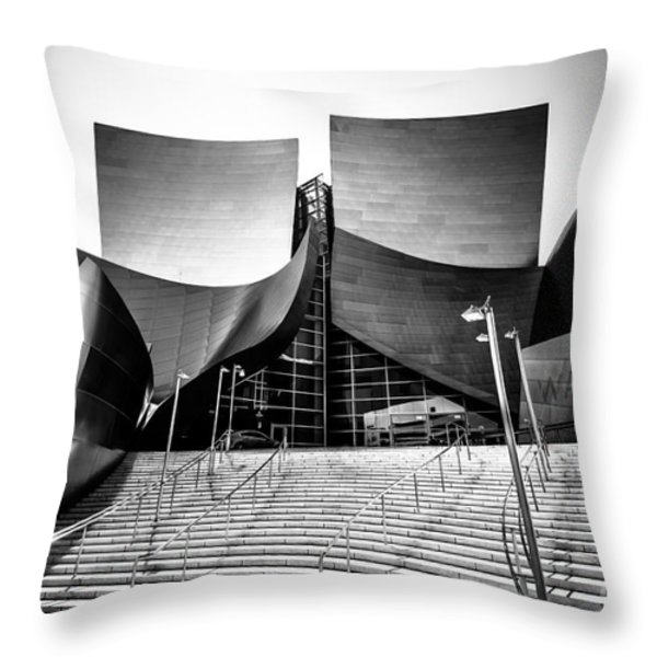 Walt Disney Concert Hall in Black and White Throw Pillow by Paul Velgos