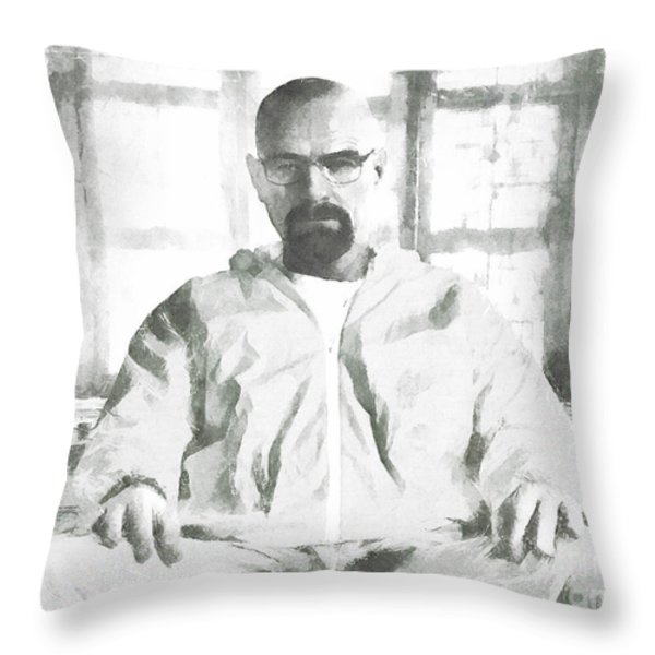 Walter White Breaking Bad drawing Throw Pillow by Pixel Chimp