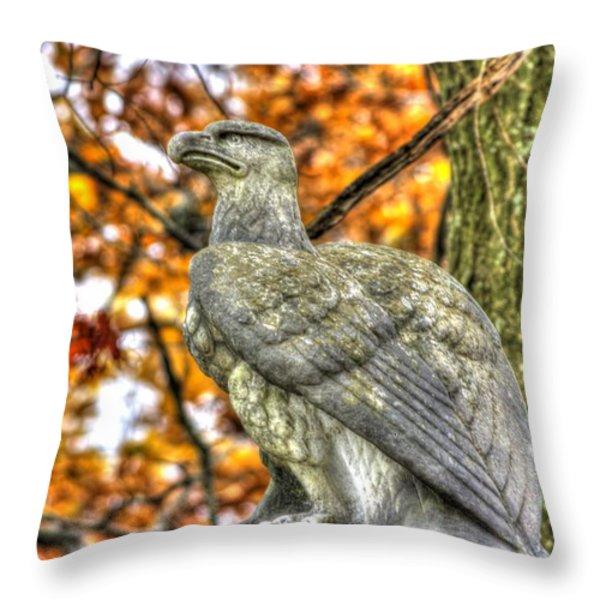 War Eagles - 28th Massachusetts Volunteer Infantry Rose Woods The Wheatfield Fall-A Gettysburg Throw Pillow by Michael Mazaika