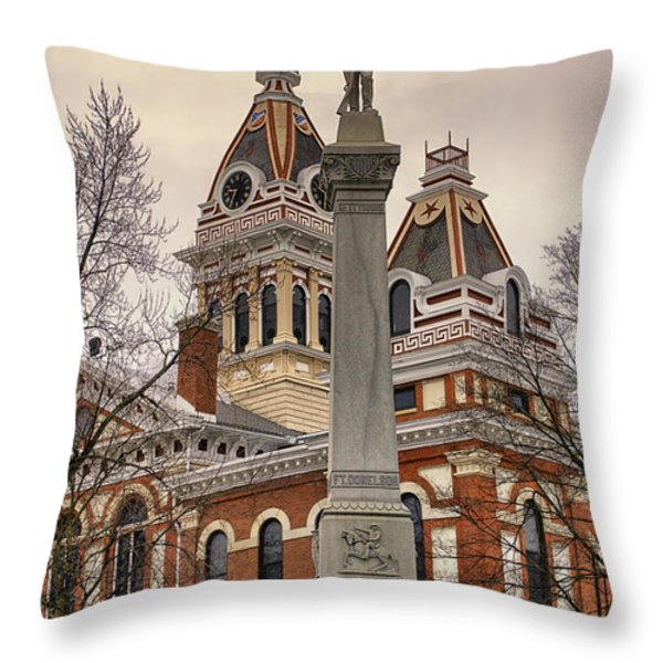 War Memorial Pontiac Il Throw Pillow by Thomas Woolworth