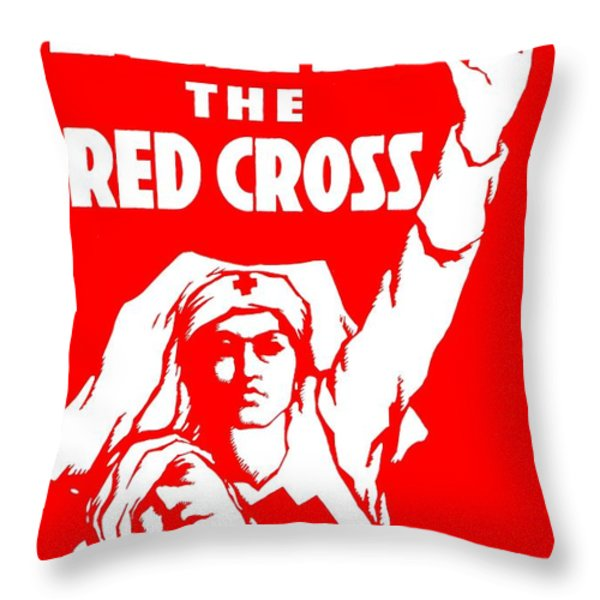 War Poster - WW1 - Help the Red Cross Throw Pillow by Benjamin Yeager