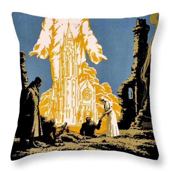 War Poster - Ww1 - Christians Support Red Cross Throw Pillow by Benjamin Yeager
