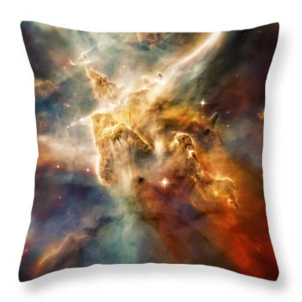 Warm Carina Nebula Pillar 3 Throw Pillow by The  Vault - Jennifer Rondinelli Reilly