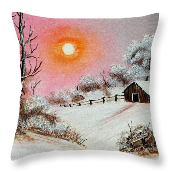 Warm Winter Day after Bob Ross Throw Pillow by Barbara Griffin