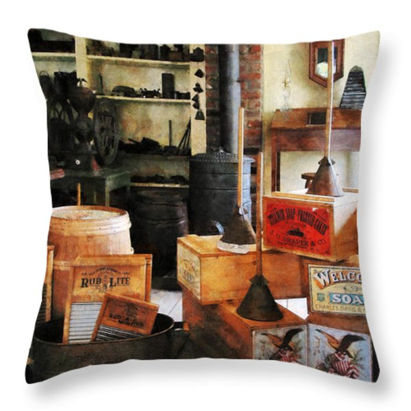 Washboards and Soap Throw Pillow by Susan Savad