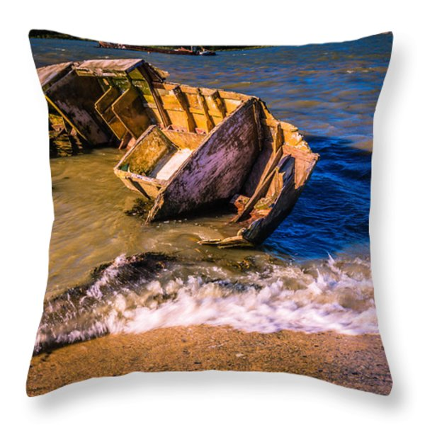 Washed Up Throw Pillow by Dawn OConnor