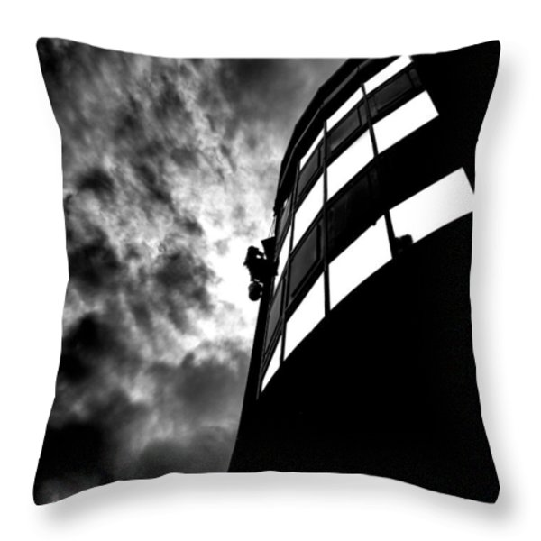 Washing Windows In The City Throw Pillow by Bob Orsillo
