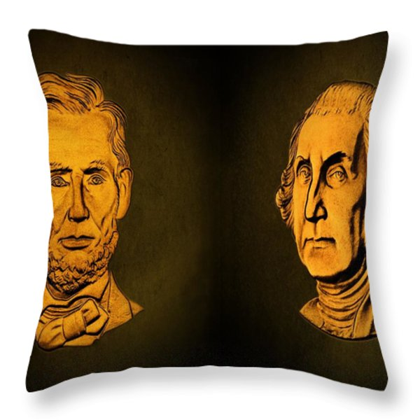 Washington and Lincoln Throw Pillow by David Dehner
