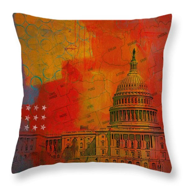 Washington City Collage Alternative Throw Pillow by Corporate Art Task Force
