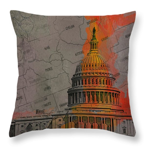 Washington City Collage Throw Pillow by Corporate Art Task Force